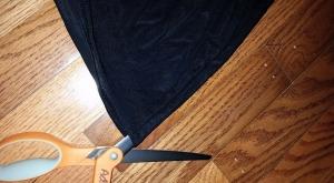 Cut skirt along one side.