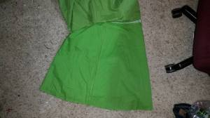skirt flipped out, lining showing