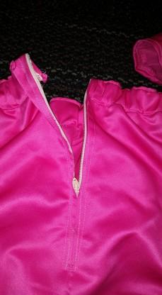 Back zipper on briefs.
