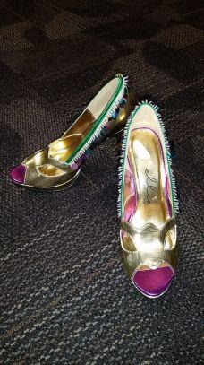 Worn with gold metallic heels.