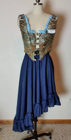 tablecloth peasant overskirt blue w/ruffles