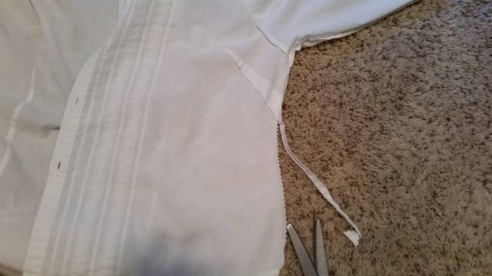 opening the side seam