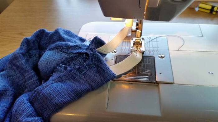 sewing the elastic together