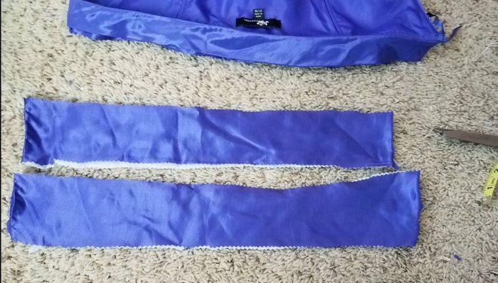 strips cut from bodice lining for waistband