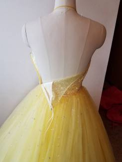 back yellow dress