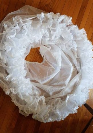 ruffles on the hoop--petticoat chiffon and pregathered lace