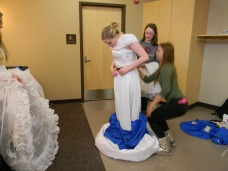 removing the transformation blue skirt, bodice and petticoat