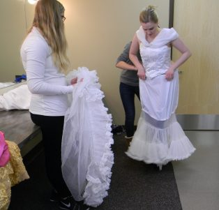 pulling up the mermaid petticoat, hoop prepped