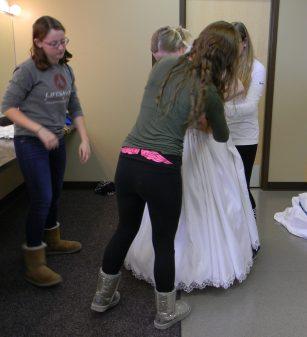 fastening the skirt