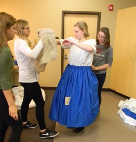 zipping and prepping overskirt, Cinderella
