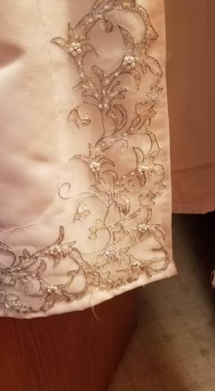 detail of jacket front lower corner