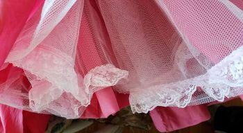 pregathered lace on the petticoat net