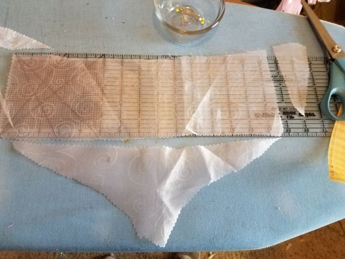 cutting out the bottom strips