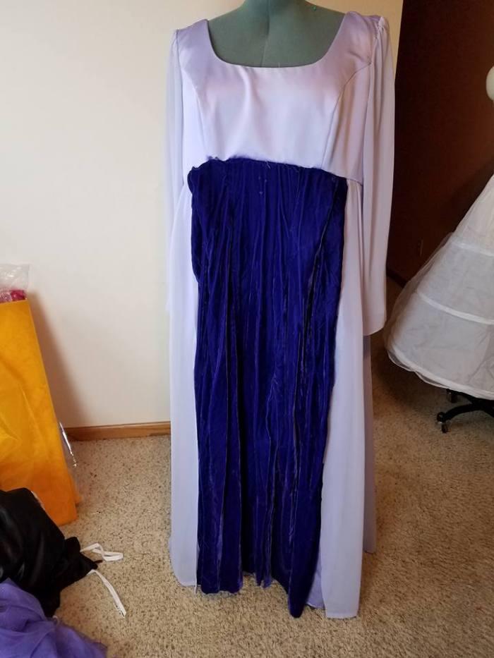 velvet dress spliced in to the front