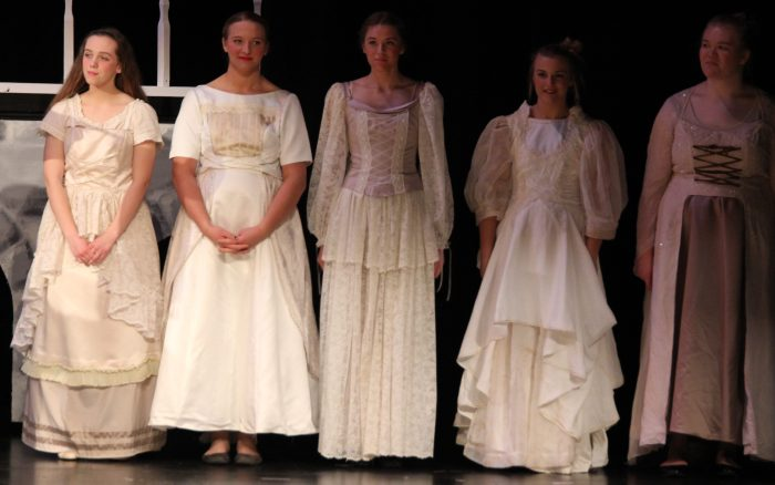chorus members in wedding wear, Cinderella