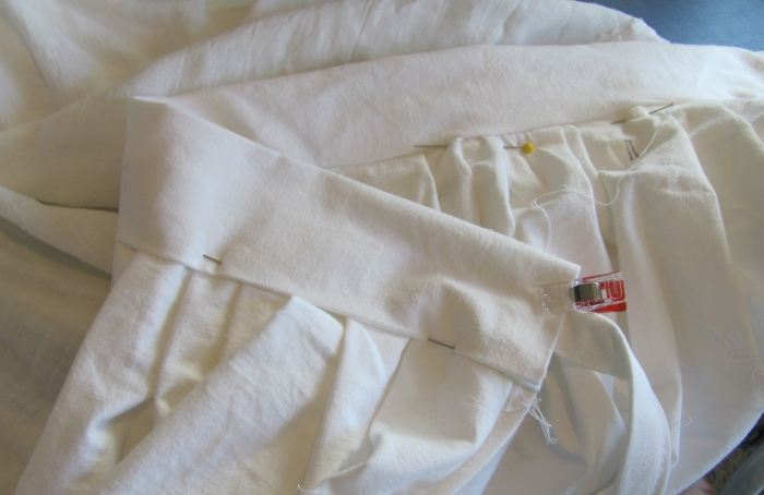 note back waistband pinned below the seam line