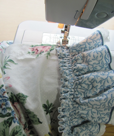 appliquing on the ruffle