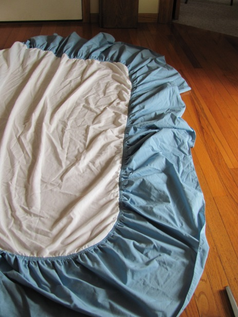 bedskirt before cutting the end off