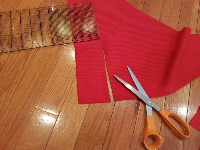cutting the waistband from scraps