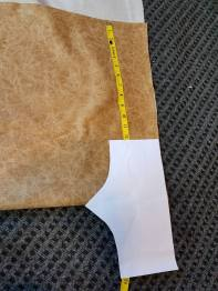 cutting the waistband from leather print vinyl
