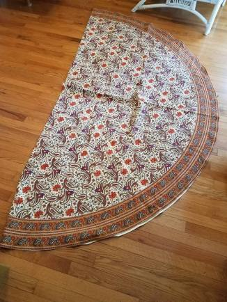 tablecloth folded in 1/2