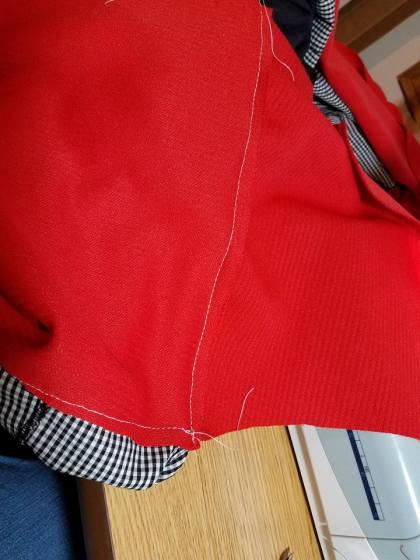 when you meet up, stitch fabric together and trim off the excess