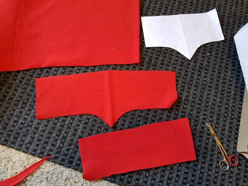 waistband cut in pieces to save fabric