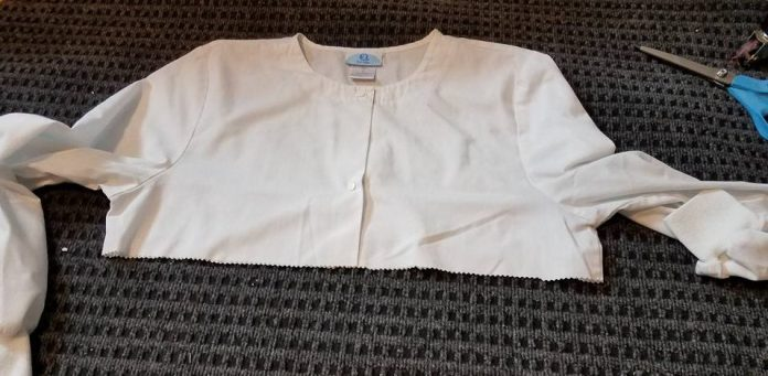 scrub jacket with bottom cut off