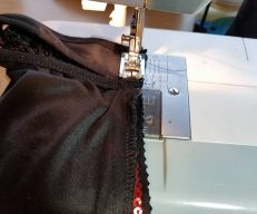 strap loop attached, now sewing the seam