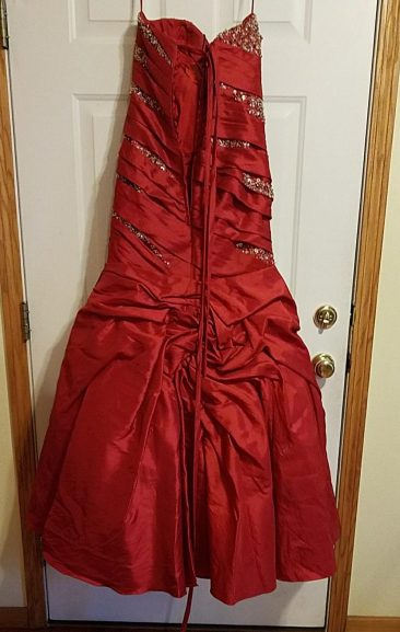 back of red Prom dress