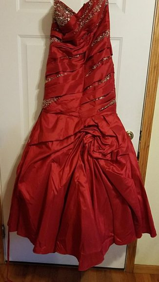 front of red Prom dress
