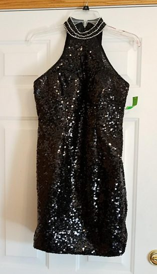 sequin slip dress with halter neck and rhinestone neck band