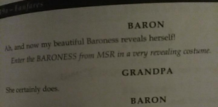 script note, the Baroness reveals herself