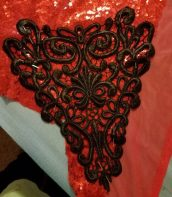 cutting the backing for the lace motif