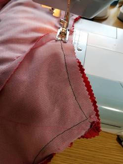 stitching along the basting line