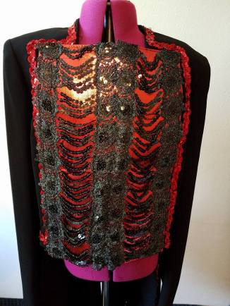 front of jacket with red sequin trim