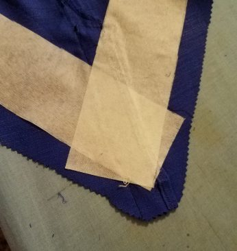 iron on interfacing to support the bias skirt cuts