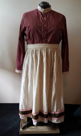 front, blouse and skirt