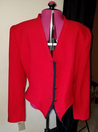 lapels stitched and trimmed