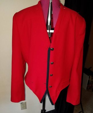 lapels folded under, new hem in place