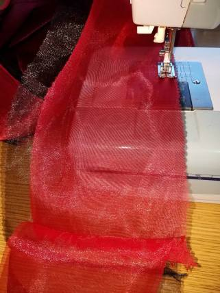 stitching two layers of organza together