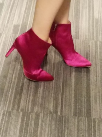 pink satin boots
