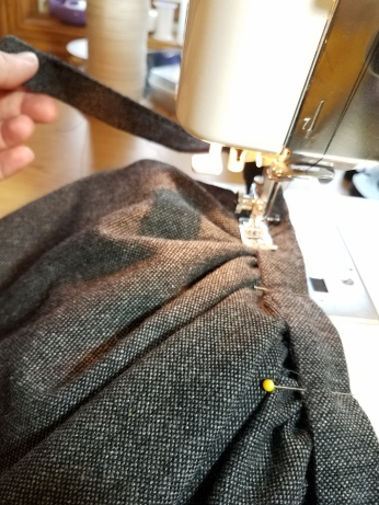 stitch-in-the-ditch to attach the waistband