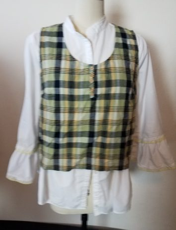 blouse with added plaid sleeveless tank top